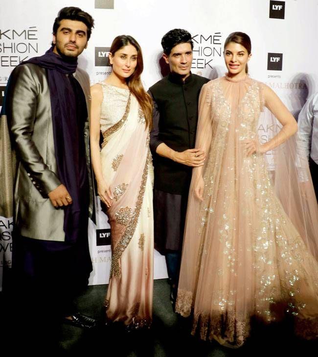 Kareena Kapoor, Arjun Kapoor and Jacqueline Fernandez with Manish Malhotra at #LFW2016 show. #Bollywood #Fashion #Style #Beauty #Hot #Sexy #Desi #Ethnic
