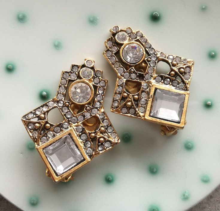 New earrings in my #etsy shop: Sparkling large clip on vintage earrings, #glamour #jewelry, retro #earrings, #wedding http://etsy.me/2pa7eF4