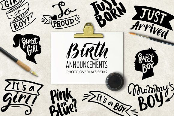 Lettering. Birth Overlays by Maria Galybina on @creativemarket