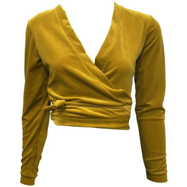 1990s Moda Int'l Chartreuse Wrap Top ($68) ❤ liked on Polyvore featuring tops, wrap crop top, velvet crop tops, crop tops, brown crop top and brown top