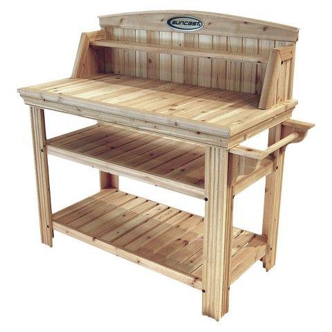 Suncast Cedar Potting Bench Outdoor Garden Bench Potting Tables Bench