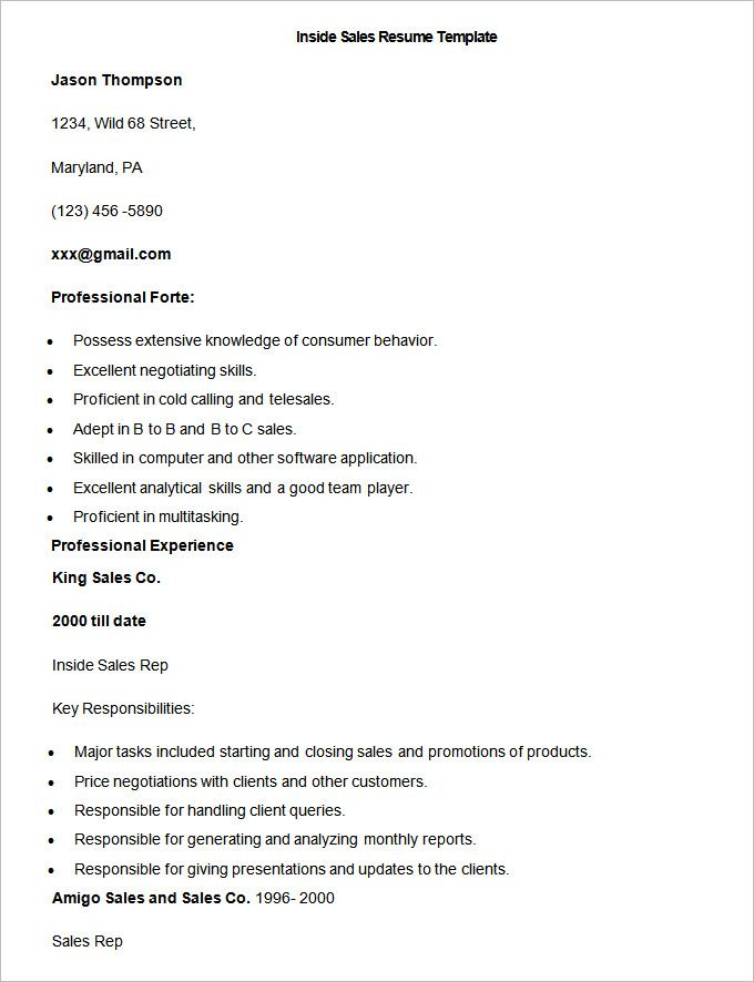 Sample Inside Sales Resume Template , Write Your Resume Much Easier with Sales Resume Examples , Sales resume examples are usually easy to find with various formats and writing methods. Sales resume itself covers wide ranges of sales such as insur... Check more at http://templatedocs.net/write-your-resume-much-easier-with-sales-resume-examples