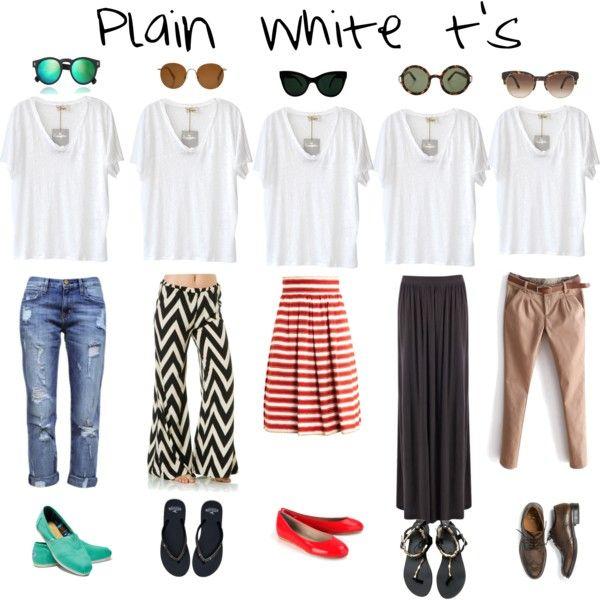 """Plain White T's"" by dawa-tsering-lama on Polyvore"