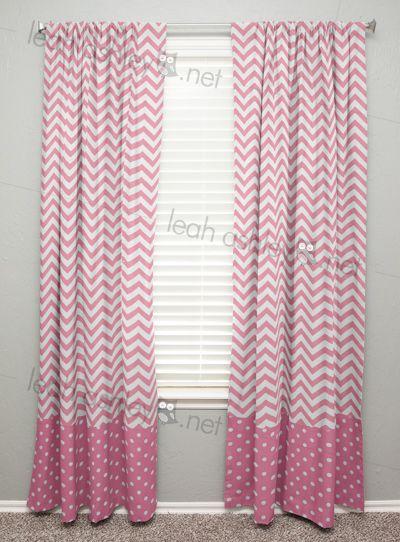 Curtain Panels by Leah Ashley, Custom Nursery Design, leahashley.net made in: curtain 63 long, 1, pink chevron, pink polka dot, Curtain Panels - Curtains - Window Treatment