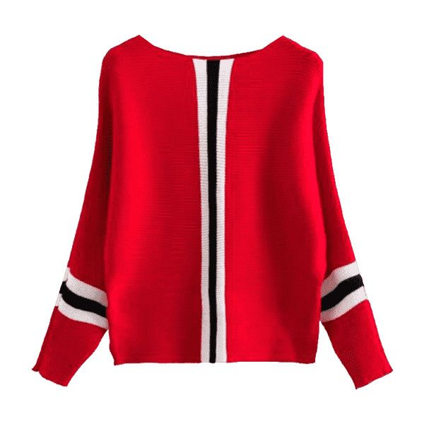 Batwing Contrasting Striped Sweater Red (326.815 IDR) ❤ liked on Polyvore featuring tops, sweaters, red batwing top, batwing sweaters, red top, batwing tops and red sweater