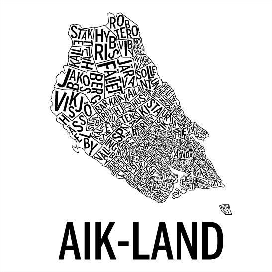 AIK-land i färgen svart ram