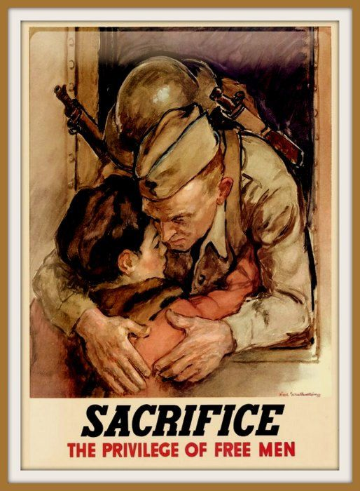 US Army Infantry Print World War II.  Prints from old-time Posters/. This one was put out by the US Government to demonstrate the sacrifice made by so many men who left their families to go and fight in the US Army Infantry Corps. It dates from the 1940s - World War II. Lovely old Poster and particularly for anyone who took part in the program so long ago. Heres to them!.  I will be listing more of these Posters in the coming days - please check back for the new arrivals. 16