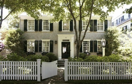 Grey shingles + black shutters + white trim...colors for my next house