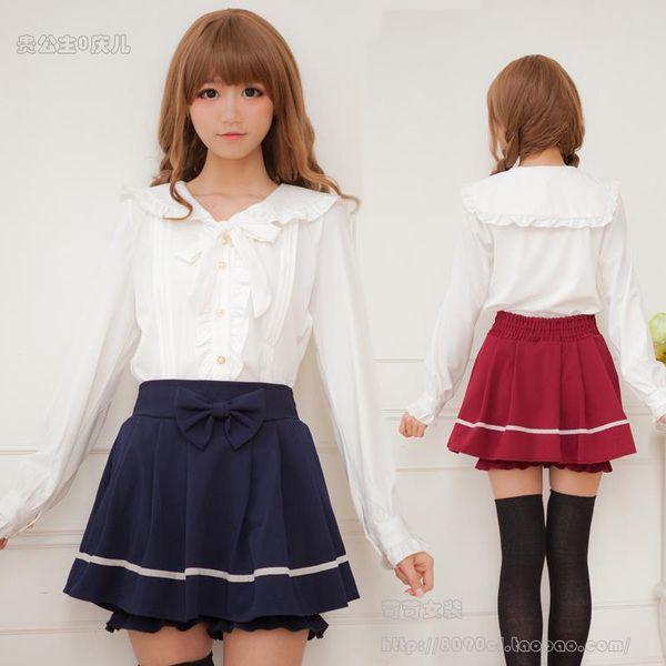 Women harsh harsh Meng Harajuku Japanese navy collar College Wind sweet lolita Meng soft sister bow lotus leaf shirt