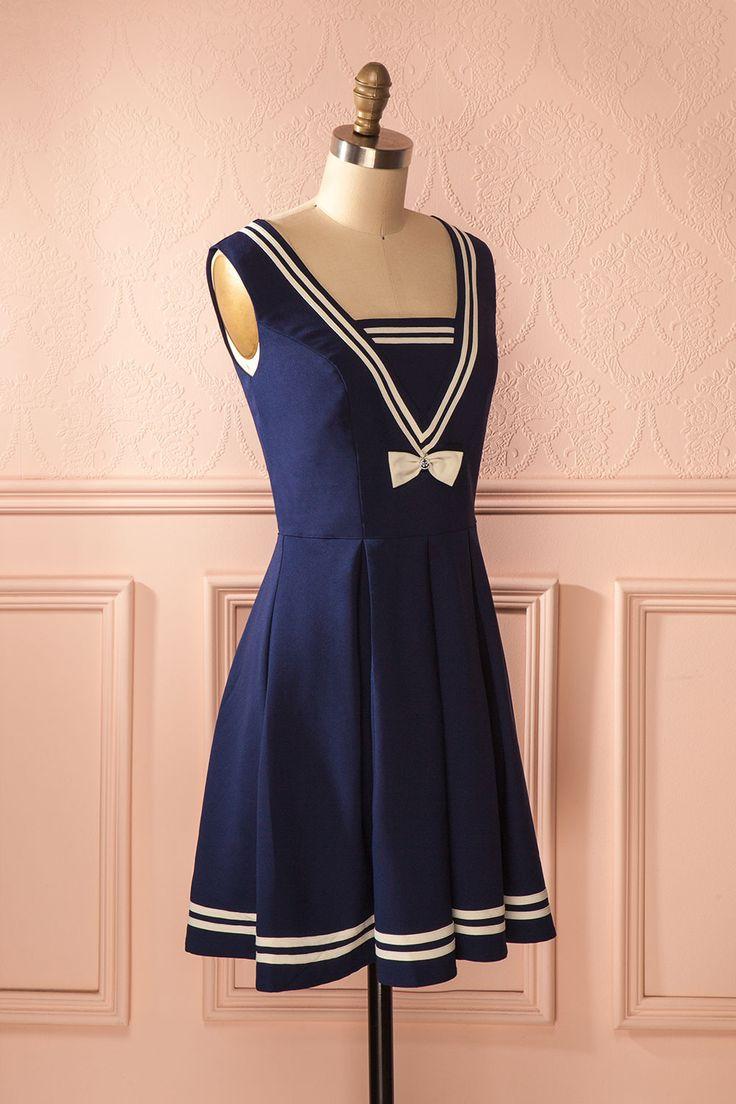 Maidie - Navy blue a-line sailor style dress