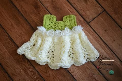 The best selling Ribbon & Lace Infant Dress is a great pattern to have! It is easy to work up with fantastic results. This dress is great for summer time with the fun lace design or layer it for winter and use as a Christmas dress.  PDF DOWNLOAD ONLY - CLICK HERE: http://www.maggiescrochet.com/products/ribbons-and-lace-infant-set-crochet-pattern-download