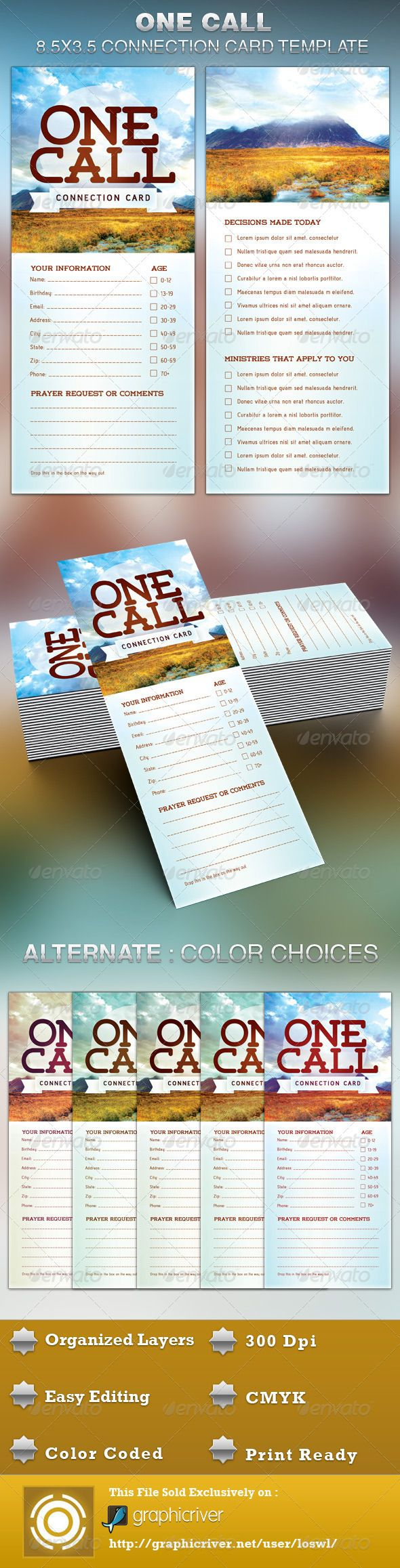The One Call Church Connection Card Template is great for any Churches. It can be used to connect with your congregation, for decision card, attendance purposes or for surveys, etc. The layered Photoshop files are color coded and organized in folders for …