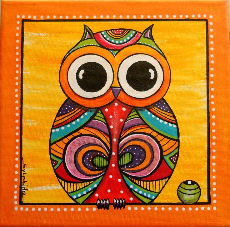 """Tableau de la petite chouette aux grands yeux """"Lulu"""" : Décorations murales par sylphide"""