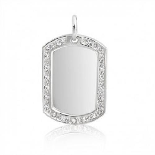 Bling Jewelry Sterling Silver Dog Tag Pendant CZ Outline