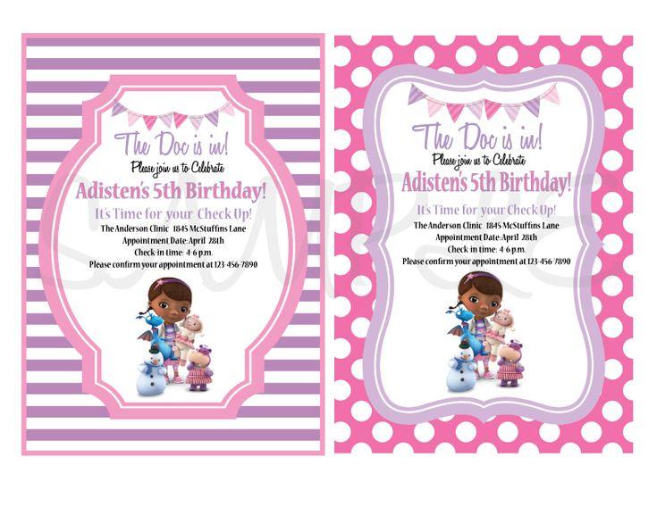 169 best doc mcstuffins images on pinterest | birthday party ideas, Birthday invitations