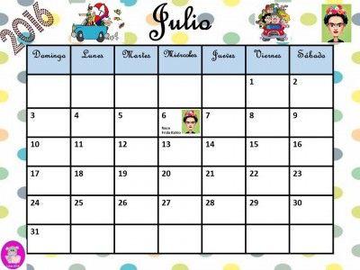 sobre Calendario Julio en Pinterest   Calendario de julio, Calendario ...
