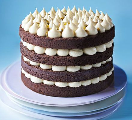 Jo Wheatley's Chocolate layer cake with passion fruit icing. Great British Bake Off winner Jo Wheatley shares her never-fail sponge recipe in this layered cake with a zingy butter icing
