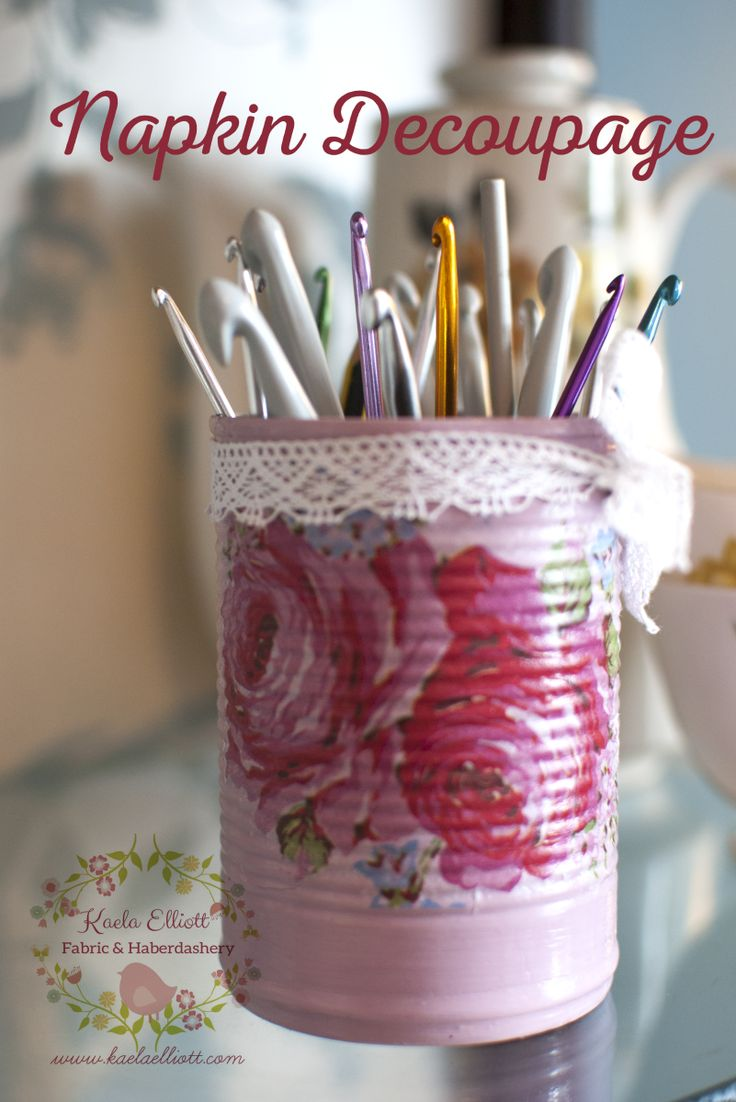 DIY Tutorial: Decoupage with Napkins on Tin Cans
