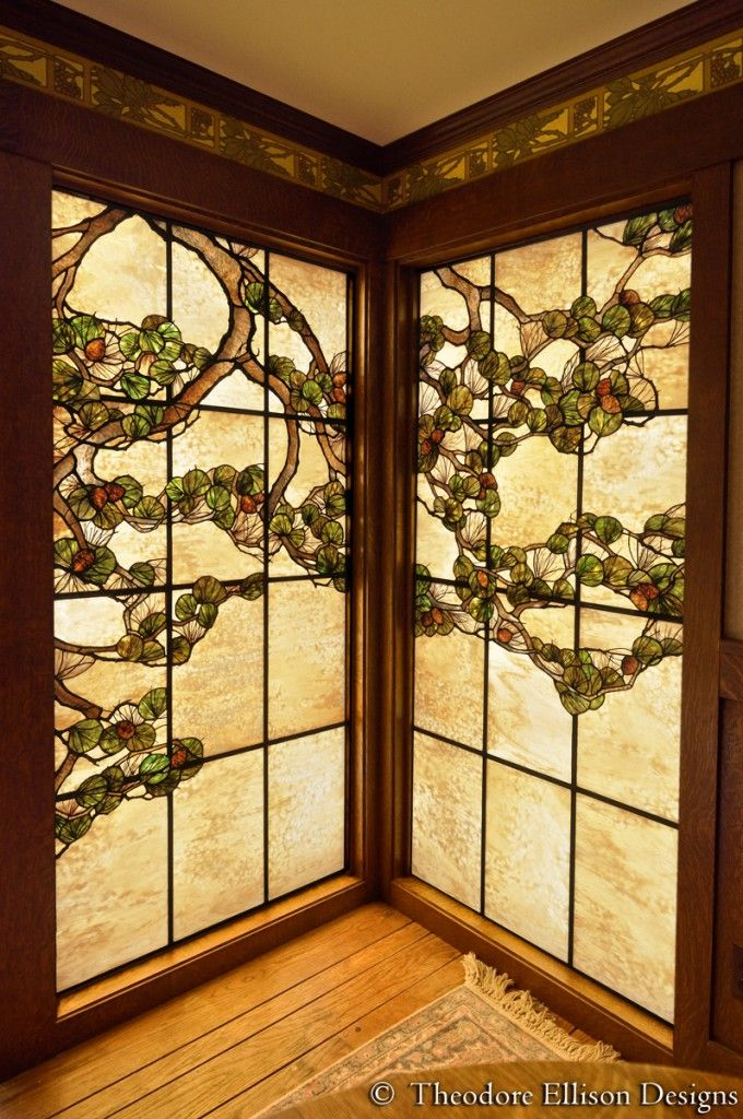 Pine tree stained glass window by theodore ellison designs for Window design bangladesh