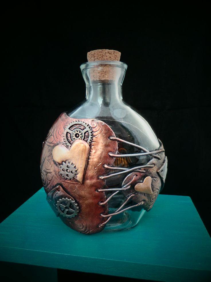 Wrap Me Up in Steampunk LOVE Bottle - Polymer Clay Bottle