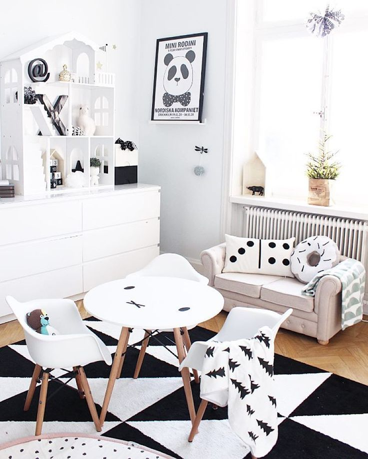 Black and white Scandinavian kids room