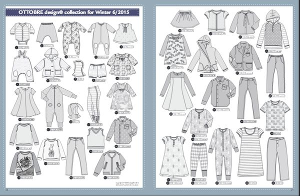 """** Ottobre Designs Magazine: Winter Issue (2015) - Kids - 06/2015 (4902.90.00.00) ** -- Above Pic = The Clothing Patterns Included in this Issue!!... -- """"OTTOBRE Design is a magazine specializing in children's and youth fashion. Each issue includes more than forty trendy designs and complete patterns and instruction for sewing... Designed in Finland."""" -- NOTE: CHECK STEVE'S SITE FOR THIS MAGAZINE & BACK-ISSUE'S!!..."""