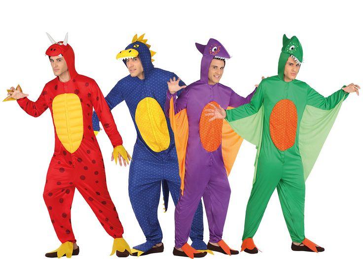 Déguisement de groupe dinosaures adultes : Ce lot se compose de 4 costumes de dinosaures pour adulte. Ces costumes représentent des dragons colorés, de couleur rouge, bleu, violet et vert. Ils possèdent tous une capuche...