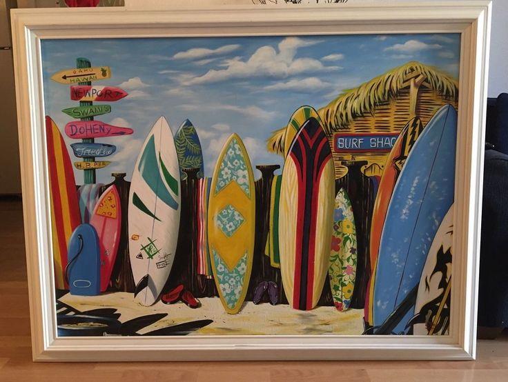 J West Signed Enhanced Giclee of Scott Westmoreland's 'Surf Shack' 4.5 Ft X 3 Ft  | eBay