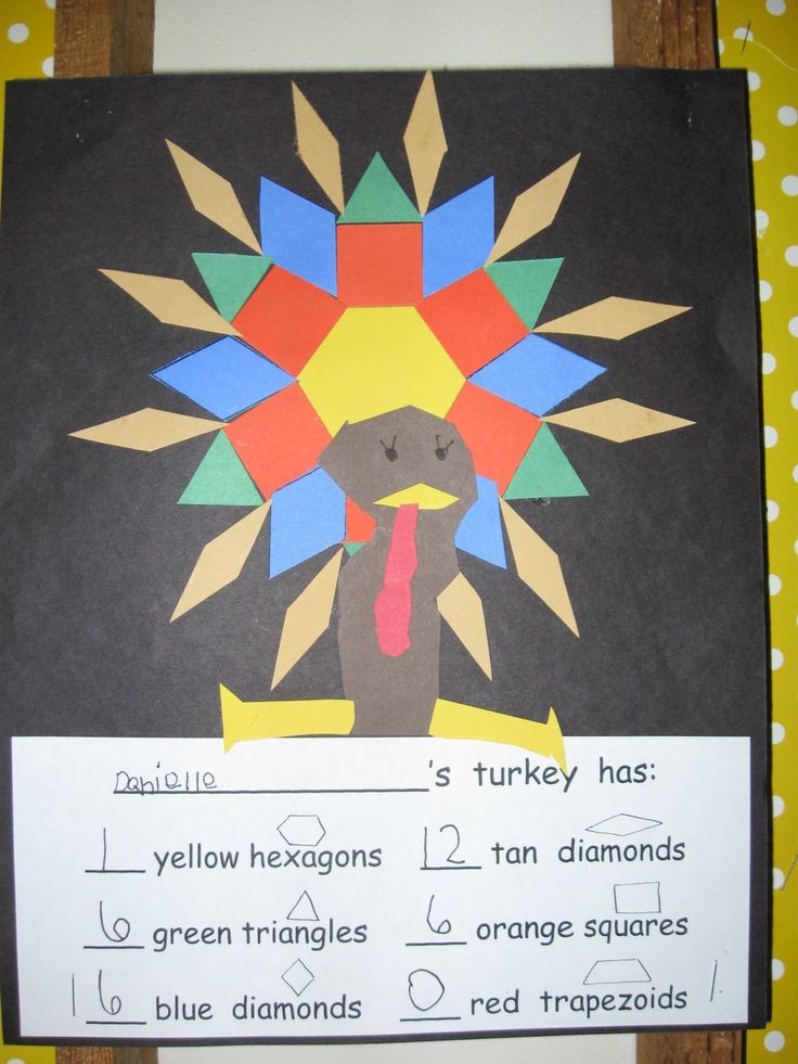 A little math, a little creativity and a little Thanksgiving activity ~ Kids make their own turkey with patterns blocks and record the shapes they used.  (Free idea.)