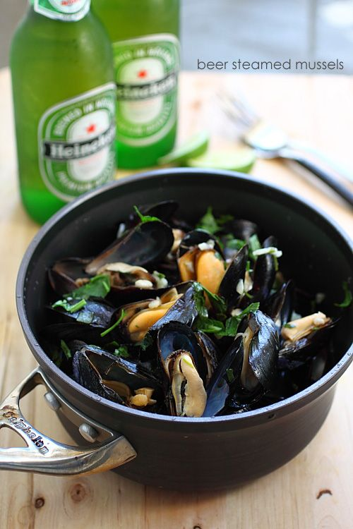 Beer Steamed Mussels: The slight bitterness of the beer is offset by the briny sweet taste of fresh mussels and the end result is a mussel pot that you can serve throughout summer.