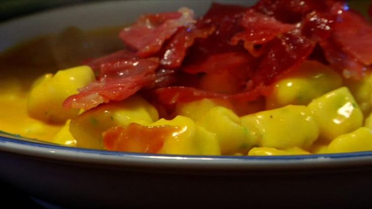 """Nhoque with Kabocha cream and Prosciutto crips - Also want to make this. Does anyone know where to find """"cabotia/kabocha"""" pumpkin in Provo-UT?"""