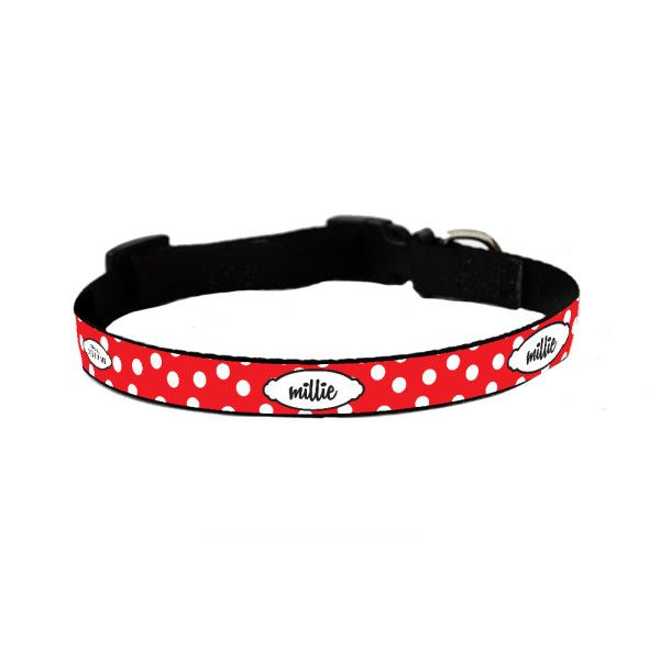 Personalised dog collar in red spot
