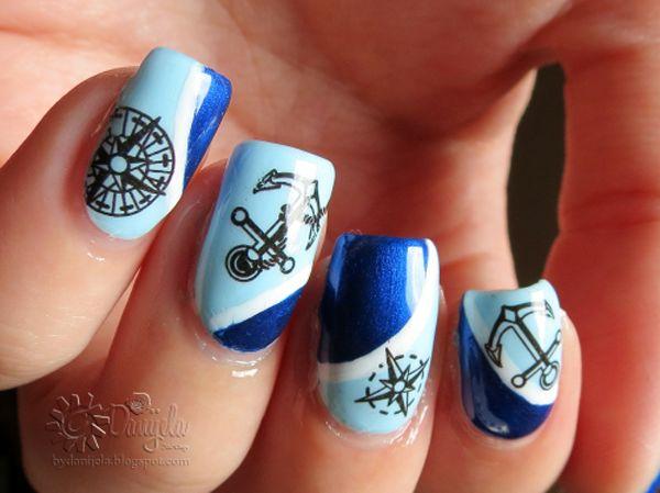 anchor nail art - 60 Cute Anchor Nail Designs