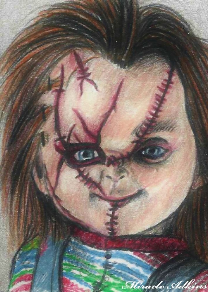 ACEO HALLOWEEN Edition CHUCKY Child's Play ORIGINAL DRAWING Sketch Card Portrait #Realism