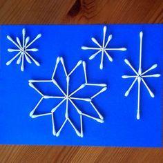 sneeuwvlokken van wattenstaafjes