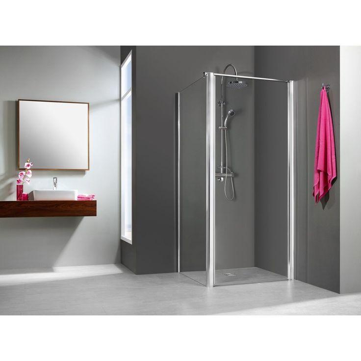 Elana porte pivotante avec paroi fixe latérale | 80 cm - 80 cm - Verre transparent - Alu mat - 06021561 - Plomberie sanitaire chauffage