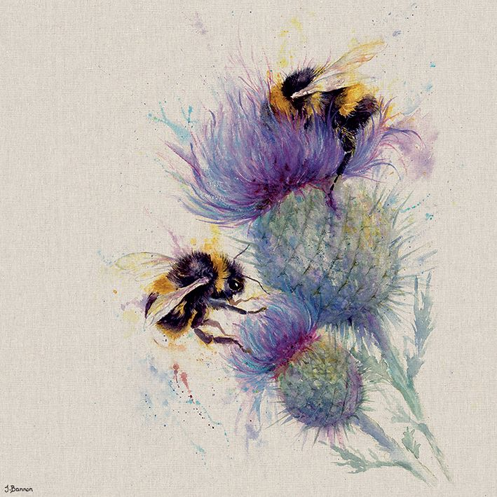 Jane Bannon Bees On Thistle Bee Art Painting Art