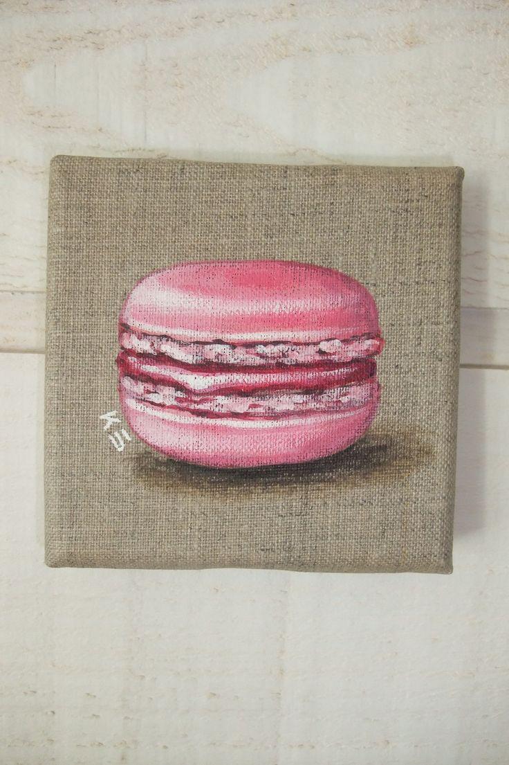 Peinture Macaron sur toile de lin (fraise/rose) : Peintures par kb-creations