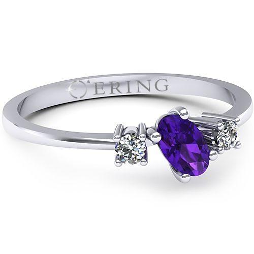 Inel logodna L05AAM inel cu diamante si ametist