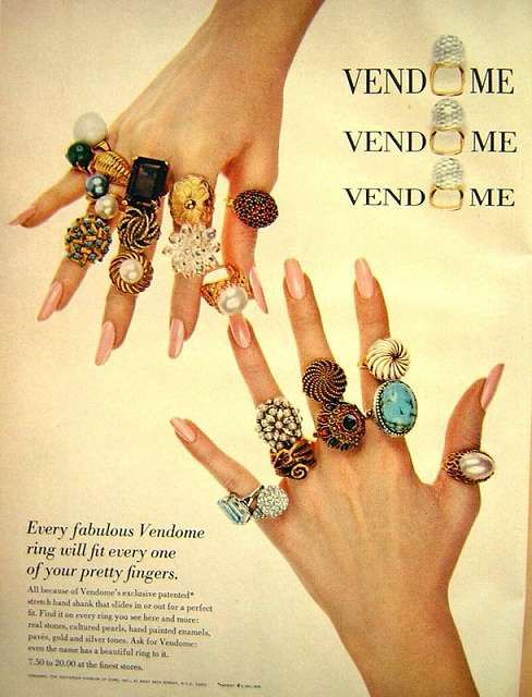 "1969 Vendome ring ad. ""Every fabulous Vendome ring will fit every one of your pretty fingers. All because of Vendome's exclusive patented stretch band shank that slides in or out for a perfect fit."" #vintagecostumejewelry"