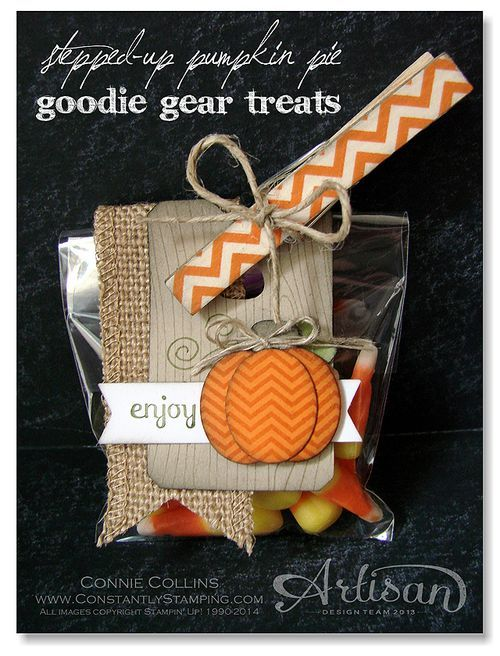 Love this little package of festive treats!: Goodies Bags, Halloween Cards, Cards Stampinup Fall, Treats Ideas, Goodies Gears, Halloween Fal, Fall Treats Bags Tags, Halloween Treats, Pumpkin Pies