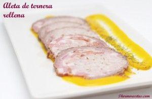 Jugosa y veraniega aleta de ternera rellena de carne, jamón y bacon