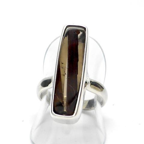 Red Epidote in Smoky Quartz Ring | 925 Sterling Silver | Overcome depression and Fatigue | Crystal Heart Melbourne Australia since 1986