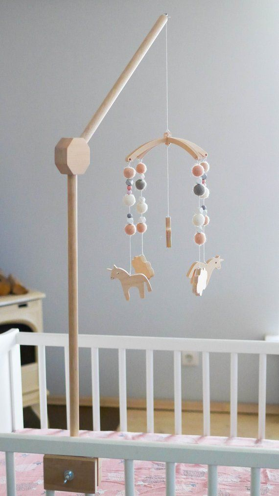Baby Mobile Holder Baby Crib Attachment Wooden Mobile Stand