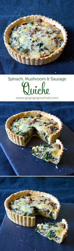 Weekend Brunch: Spinach, Mushroom & Sausage Quiche | Go Go Go Gourmet