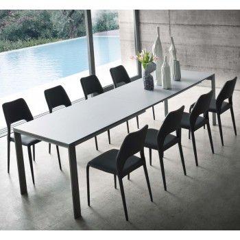Tavolo allungabile oltre 3 metri Arthur con piano in nobilitato laminato colore grey