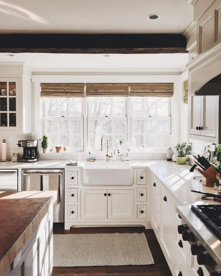 1800s farmhouse kitchen. Big windows over sink. //Instagram photo by @tuckedawayhouse • 1,209 likes