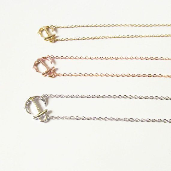rose gold anchor necklace sideways anchor jewelry by twixtdesigns