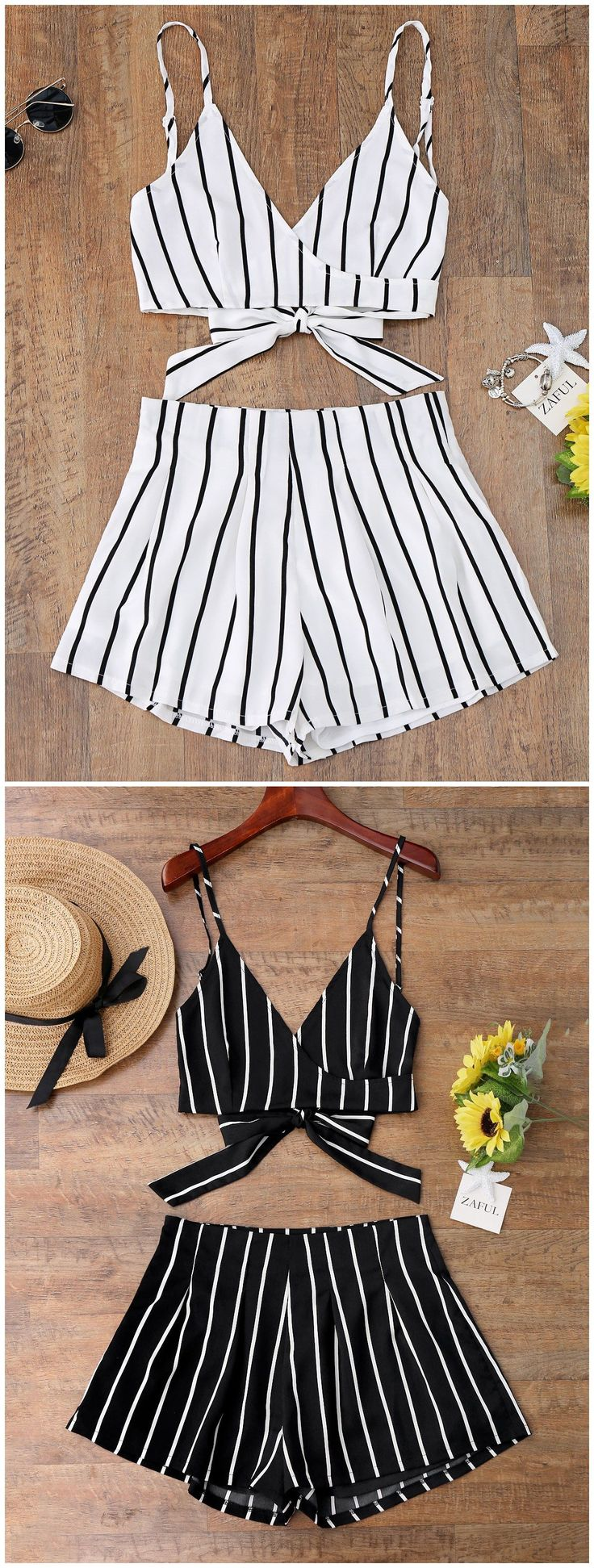 Up to 80% OFF! Striped Cami Wrap Top With Shorts. #Zaful #CoverUps zaful,zaful outfits,zaful dresses,spring outfits,summer dresses,Valentine's Day,valentines day ideas,cute,casual,classy,lace,mesh,fashion,style,swimwear,swimsuits,beach cover ups,swimsuit cover,jumpsuits,rompers,playsuits,dressy jumpsuits,playsuits two piece,two piece outfits,two piece dresses,dresses,printed dresses,sundresses,long sleeve dresses,mini dresses,maxi dresses,bohemian dresses @zaful Extra 10% OFF Code:ZF2017