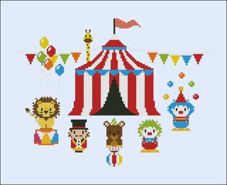 The Magnificent Stromboli's Circus - Cross Stitch Patterns - CloudsFactory